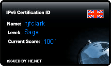 IPv6 Certification Badge for njfclark